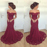Wholesale exquisite mermaid beaded prom for sale - Group buy Exquisite Appliques Burgundy Prom Dresses Mermaid Long Off Shoulder Major Beading Lace Up Back Party Evening Dress Gowns For Women