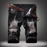 vintage black belt NZ - 28-42 Big Size straight jeans Paint jeans men Ripped Jean Pants Adult Black Trousers Male Vintage short denim Jeans free belt