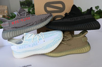 Wholesale Waterproof Uv - 2018 NEW Best quality 350 V2 boost 350 V3 shoes triple white Zebra UV light Kanye West Sneakers (Keychain+Socks+Bag+Receipt+Box)