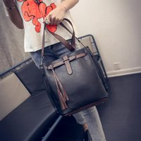 Wholesale Retro Vintage Tote Bag - Wholesale- Luxury Handbags Women Bags Designer Messenger Bucket Vintage Retro Big Simple PU Leather Shoulder Crossbody Bag bolsos mujer