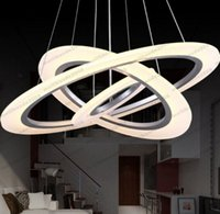 Wholesale Cm Cord - 2017 dimming control LED Modern Design Dimmable Led Pendant Light 3 big ring: 80 cm central: 60 cm little ing :40cm Rings Frosted Acryli MY