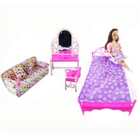 Wholesale Doll House Sofa - 3 Items Doll Accessories Doll Bed + Dressing Table + Flower Cloth Sofa For Barbie Dolls Girl Gift Kid Play House Furniture Toys