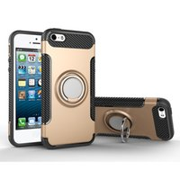 Wholesale Defender Iphone5 - Ring Armor Case Slim Fit Dual Layer Hybrid Armor Shell Shock Absorption Rugged Defender With Ring Holder Protect Cover For IPhone5-5s-5se