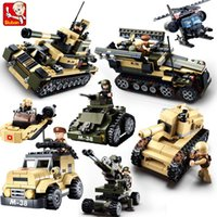 Wholesale Sluban DIY eductional in Building Blocks Sets Military Army Tank children Kids Toys Christmas Gifts compatible with legoe