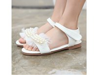 Wholesale Leather Girl Dance Wear - Alovbear Girls pearls tulle Sandals casual shoes kids beach wear summer children for Retail wedding party dance 1AS503-11R [Eleven Story]