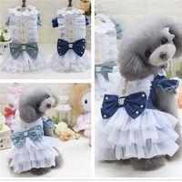 Wholesale New Beautiful Shirts - Puppy Dog British Style Cute Dog Dress Cowboy Beautiful Clothes