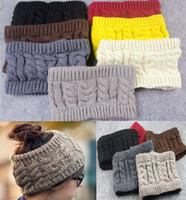 Wholesale Crochet Headbands Wide - fashion women wide crochet headband Hot winter Messy Bun empty wool hats womens wool caps wide headbands ladies hats beanies ear warmer