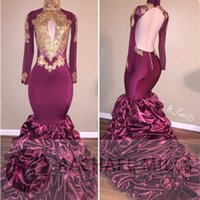 Wholesale Girls Ruffle Shirt Embroidery - 2017 Long Sleeves Gold Appliqued Prom Dresses African Burgundy Mermaid Formal Black Girl Evening Party Gowns