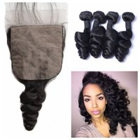 Wholesale Indian Vrigin Remy Hair - Unprocessed Human Hair Vrigin Remy Loose Wave Hair Bundles With Silk Base Closure Peruvian Virgin Hair Extensions No Shedding G-EASY