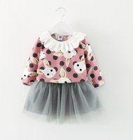 Wholesale Little Korean Girls - Lovely Girls Bunny Tops+Tutu Skirts Set 2017 Fall Kids Boutique Clothing Korean Little Girls Lace Collar T-Shirts+Tulle Skirts Outfits
