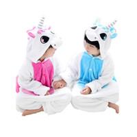 Wholesale Velvet Nightgowns - cute kids one-piece pajamas lovely cartoon unicorn style sleepwear for 3-10yrs children boys girls onesie pajamas night clothes