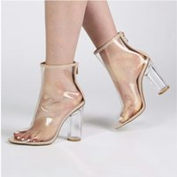 European Fashion Style Sexy Transparent Spitze Stiefeletten PVC High Heel Rain Frauen Frauen Plus Größe