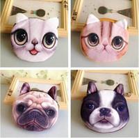 Wholesale Cute Pen Purse - Wholesale- Free ship!1lot=30pc!Cute cat and dog face mini purse  animal bag cartoon wallet small pouch pen bag