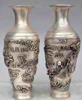 "Wholesale Antique Chinese Cup - Modern Art Sculpture Figurine 11""Chinese copper Silver dragon Phoenix statue Zun Cup Bottle Pot Vase Jar pair"