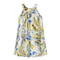Wholesale Bow Left - Girls dresses children leaves suspender princess gilrs bow cotton& linen printed vest dress 1-12T 2017 summer new fashion kids clothes T2179