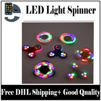 Wholesale Cheap Led Finger Toy - DHL Free 2017 New Figit Hand Spinner Fidget Toy Cheap Finger Toys LED Light Tri Spinner Lead Fidget Spinner for Decompression Anxiety Sold