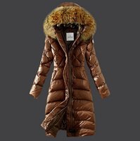 Wholesale doudoune femme - High Quality RHUBARBE Long Down Jacket For Women Khaki,Black,Red Lightweight Slim Winter Coats Fur Hats Doudoune Femme