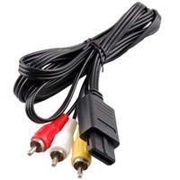video oyunu av kablosu toptan satış-180 cm AV TV RCA Video Kordon Kablo Için Oyun küp / SNES için GameCube / Nintendo N64 için 64