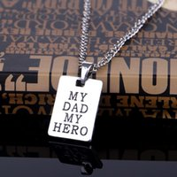 Wholesale Wholesale Dad Gifts - Father's Day Gift My Dad My Hero Rectangle Pendant Necklace Charm Men Fashion Jewelry Family Choker fashion pendant 161946