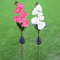 Simulation LED Solar Lampe Solar Power Licht Lampe Phalaenopsis Blume Form für Outdoor Yard Rasen Balkon Pfad Party Dekoration Fünf Kopf