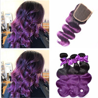 iki ton dantelli kapatma toptan satış-8A Malaysian Purple Ombre Lace Closure With Bundles Two Tone #1b Purple Human Hair With Closure Cosplay Purple Dark Roots Bundles