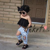 Wholesale Baggy Pant Kids - Hot sale Girls Baby Clothing Fashion Jeans Summer Fashion Stretch washed Toddler Ripped Jeans hole Baggy Kids Trouser Childrens Pants A406