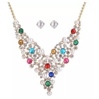 Wholesale engagement gifts for bride resale online - Luxury Earring And Necklace Pearl Rhinestones Crystal Set for Brides Bridesmaid Bling Stone Necklaces Fashion Party Jewelry Colorful Set