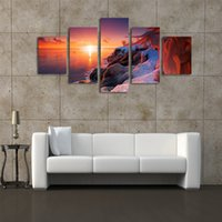 Unframe 5 Pannelli The Setting sun Seascape Picture HD Stampa su tela Pittura Opera d'arte Wall Art Tela pittura all'ingrosso