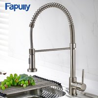 Fapully Spring Brushed Nickel Kitchen Faucet Puxe para fora Torneira de água Rotate Swivel 2 Outlet Kitchen Mixer Faucet