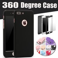 Wholesale Iphone Covers Sale - Hot Sale 360 Degree Coverage Full Body Tempered Glass Screen protector Hard PC Case Cover For iPhone 7 plus 6 6S 4.7 5.5inch Free ship 1PCS