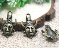 männer hängendes horn großhandel-12pcs - Bronze Ton Heavy Mysterious Horn Mann Maske Supernatural Dean Charm Anhänger 32x19mm