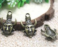 Wholesale horn tones - 12pcs- bronze tone Heavy Mysterious Horn Man Mask Supernatural Dean Charm Pendant 32x19mm