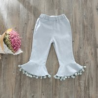 Wholesale Childrens Kids Boots - 2017 Baby Girls Denim Tassel Pants Kids Girls Fashion jean Flare Trouser Babies Spring Autumn Pants childrens clothing