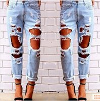Wholesale Womens Boyfriend Jeans - Ripped Jeans Denim Joggers Knee Holes Slim Fit Jeans For Women Blue Rock Star Womens Jumpsuit Destroyed Jeans Boyfriend Pencil Pants