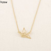 Wholesale Simple Cute Necklace - Wholesale- hzew Min 1pc Gold Silver Plated Origami Crane Necklaces for Women Cute Bird Chain Necklaces 2015 Simple Couple Necklaces