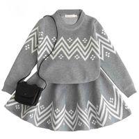 Wholesale geometric print sweater - Spring Girls Clothing Set Long Sleeve Sweater Tutu Skirt Set Soft Knitted Girls Clothes Geometric Print Warm Children Clothing