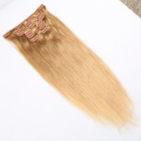 Wholesale European Clip Remy Hair - one Set Straight 16 to 26inch 7pcs set Remy Clip in Hair Human Hair Extensions blonde colour with 16 cllips wholsesale cheaper price
