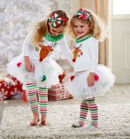 Wholesale Striped Kids Tutu - New Baby Girls Christmas Costume Wholesale suit Reindeer ruffle Top LaceTutu Tulle Skirt Striped Rainbow Pants Outfits Set 1-5Y Kid clothing