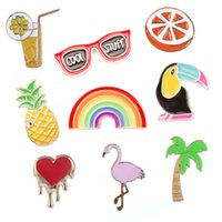 broches de arco-íris venda por atacado-Pino Esmalte dos desenhos animados Bonito Flamingo Abacaxi Rainbow Broche De Gotejamento Óleo Fácil de Transportar Emblema Multi Color 1 2yx B R