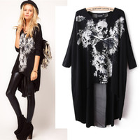 Wholesale Dovetail Shirts - Wholesale- Fashion Women's Skull Dovetail T-shirt Mesh Back Cross Stitching Long Section Woman Clothes Large yard with design sense