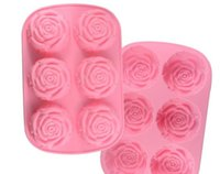 Wholesale Silicone Cake Floral Moulds - 6 in1 3D Rose Floral Cake Chocolate Pudding Mold Cutter Silicone Mould Baking Tools