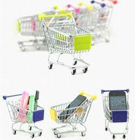 Wholesale Fashion Shopping Cart - Brand New 180pcs lot Fashion Mini Supermarket Hand Trolleys Mini Shopping Cart Desktop Decoration Storage Phone Holder Baby Toy