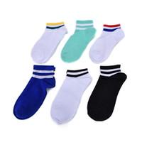 Wholesale Skating Socks - Wholesale- 1 Pair New Men Women Short Stripes Cotton Socks Retro Old School Hiphop Skate Short Meias harajuku white black winter cool