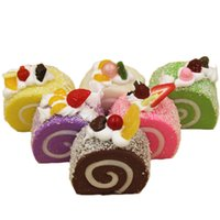 Wholesale Environmental protection safety High imitation Swiss Roll Lovely Cake Scented PU material toy color random