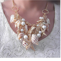 2017 Sea Style Gold Plated Big Starfish Statement Collares Cristal Perla Choker Conch Shell Colgantes Para Mujeres Regalos