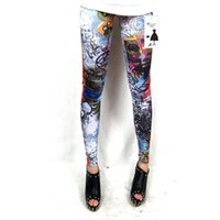 Wholesale tattooed leggings - Wholesale- Women tattoo graffiti leggings lovely angel printed leggings spring fall pencil pants lady Elastic waist Slim Leggings