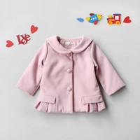 Wholesale Ruffle Girls Coat - Everweekend Baby Girls Sweet Pink Clor Winter Coats Kids Girls Western Fashion Cute Cat Ruffles Outwears Clothing