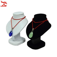Wholesale Wholesale Jewelry Mannequins - Mini Jewelry Display Bust White PU Pendant Holder Black Velvet Mannequin Necklace Rack Stand Wooden Pendant Portrait Model 11cm
