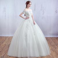 Wholesale Korean Wedding Dress Front Short - Boat Neck Short Sleeve Korean Lace Up Ball Gown Wedding Dresses 2017 Plus Size Bridal Dress Princess Wedding Gown Real Photo