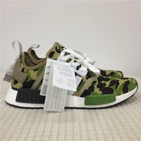 Wholesale Wholesale Camo Mesh - Real Boost Baps x NMD Runner R1 Green Camo Bathing Running Shoes for Men Fashion Originals NMDs Runner Sport Sneakers Women Athletic Shoes
